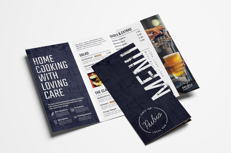 Tri-Fold Bar Menu Template