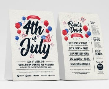 4th of July Table Tent Template