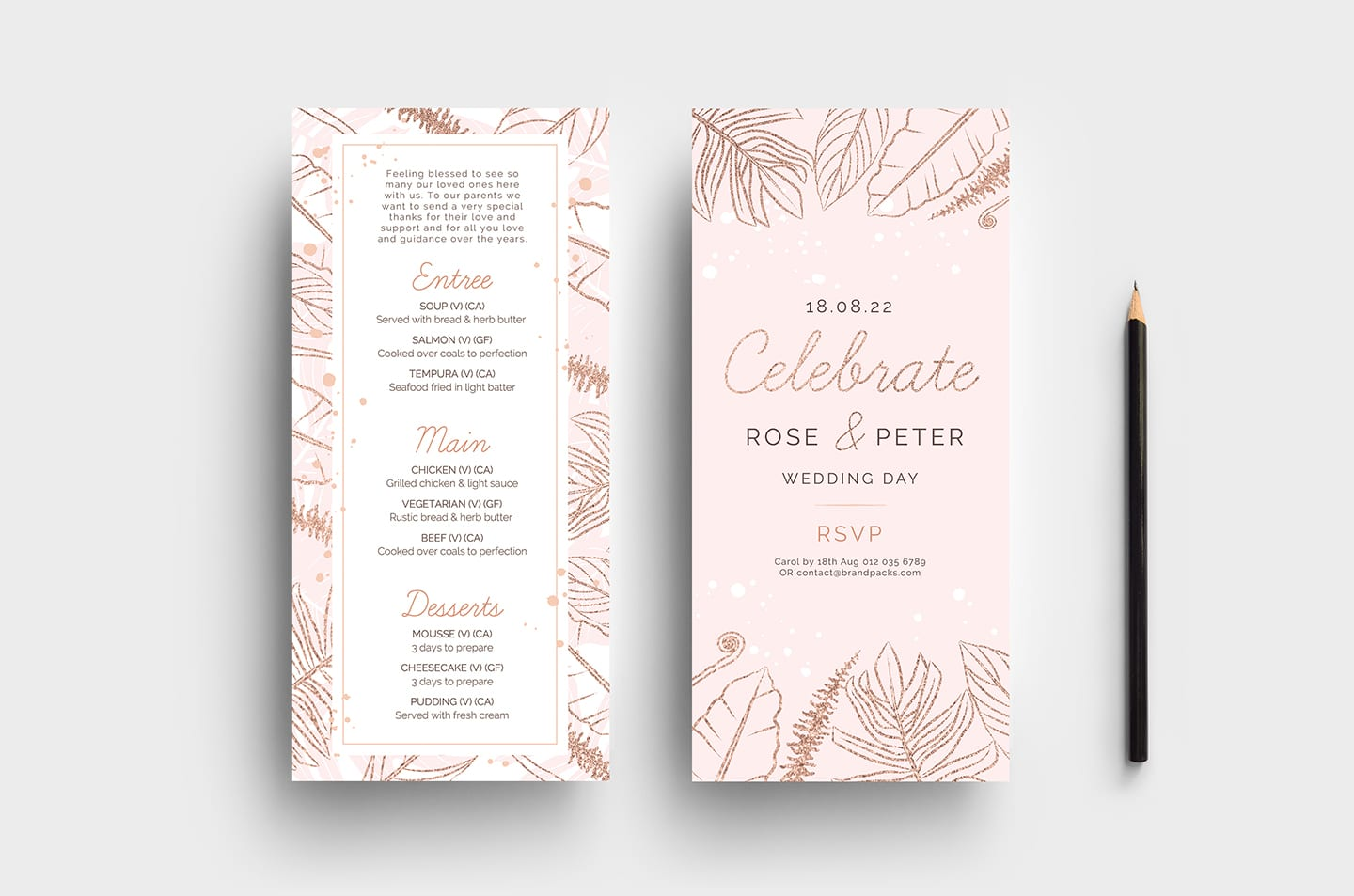 Rose Gold Wedding DL Card Templates