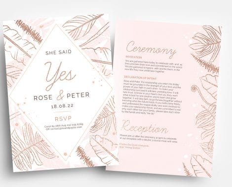Rose Gold Wedding Flyer Templates