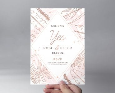 Front of Rose Gold Wedding Flyer Template