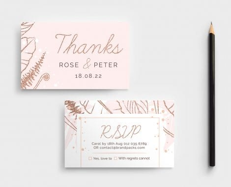 Rose Gold Wedding RSVP Card Template