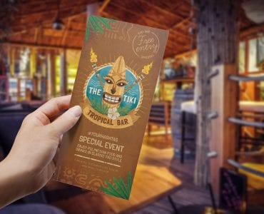 Tiki Bar DL Rack Card Template