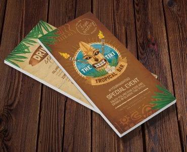 Tiki Bar DL Rack Card Template