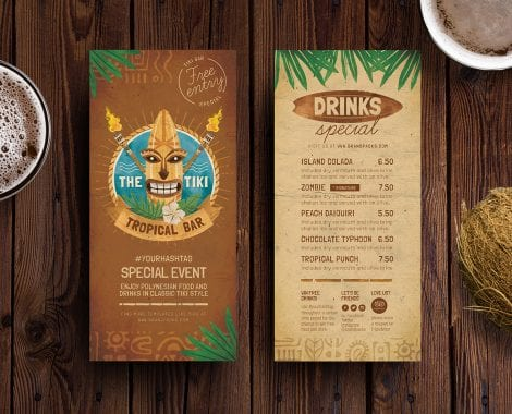 Tiki Bar DL Rack Card Templates