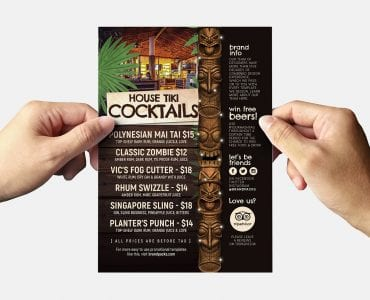 Tiki Bar Flyer Template Back