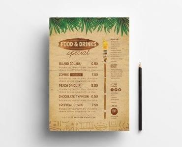Tiki Bar Menu Design