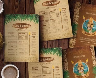 Tiki Bar Menu Design Templates
