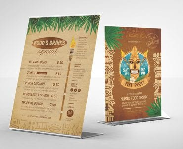 Tiki Bar Table Tent Templates