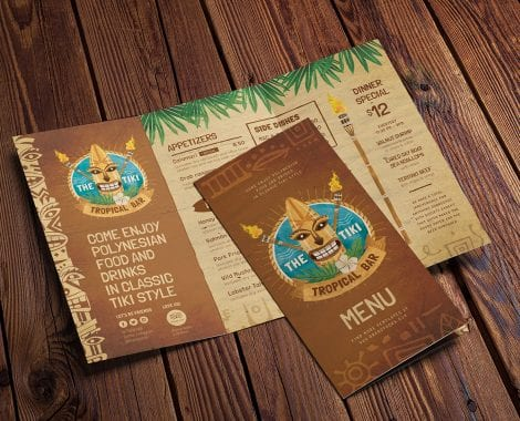 Tiki Bar Tri-Fold Menu Template
