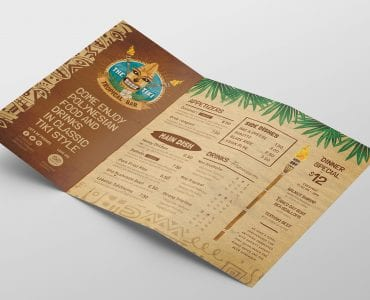 Tiki Bar Tri-Fold Menu Template Inside