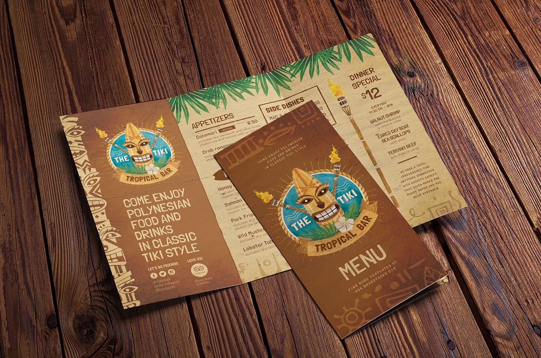 Tiki Bar Tri-Fold Menu Template