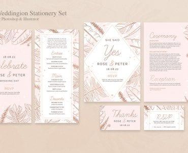 Wedding Stationery Templates Set