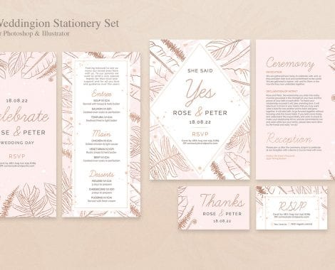 Wedding Stationery Templates Set