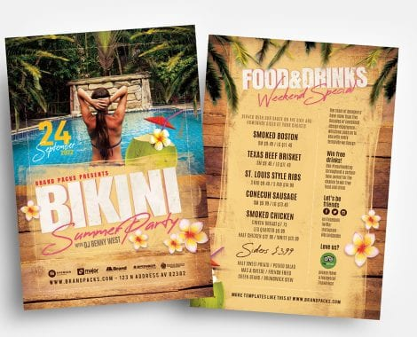Bikini Party Flyer Templates