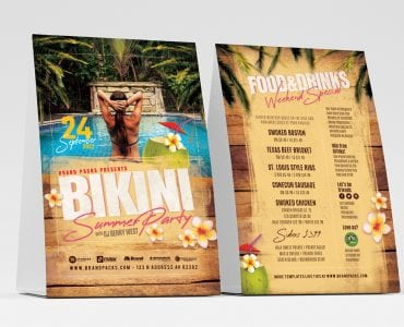 Bikini Party Table Tent Templates
