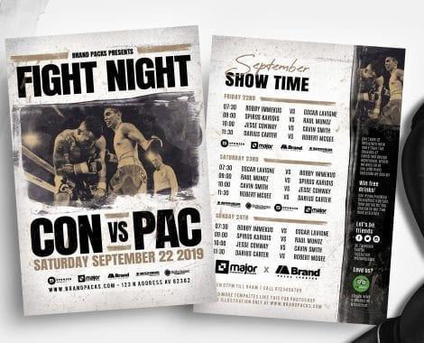 Boxing Fight Night Flyer Templates