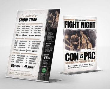 Boxing Fight Night Table Tent Templates