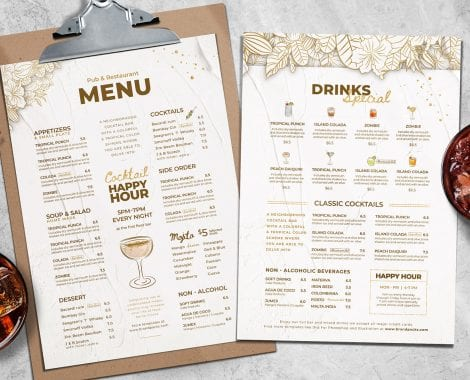 A4 Cocktail Menu Templates