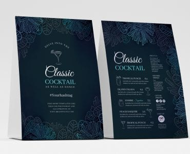 Cocktail Table Tent Templates