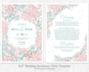 Modern Floral Wedding Flyer Template