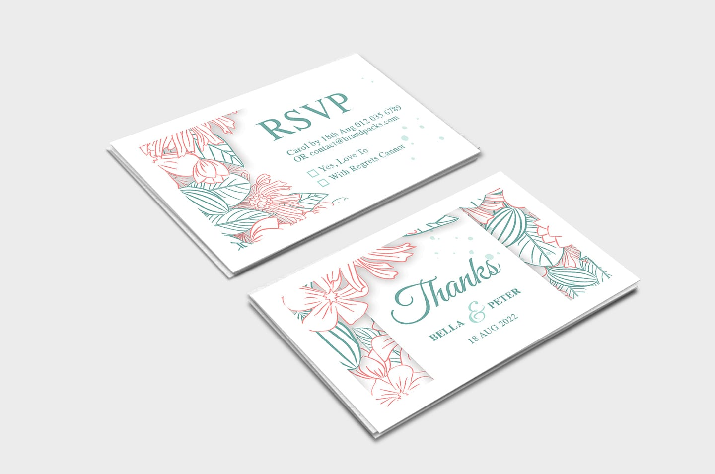modern floral wedding rsvp card template  brandpacks