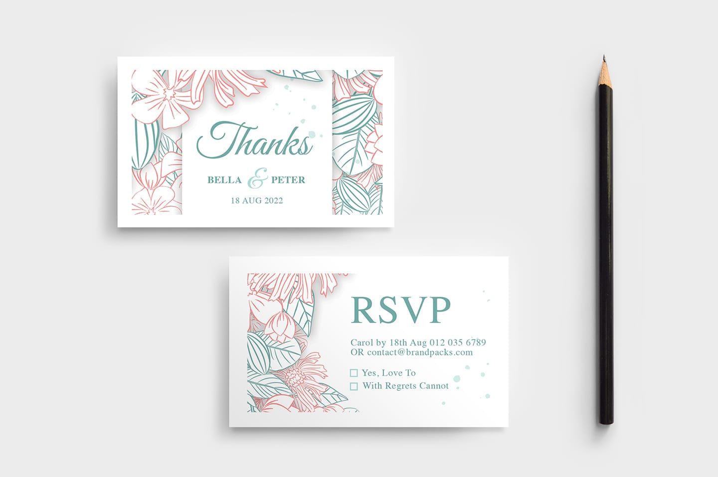 modern floral wedding rsvp card template