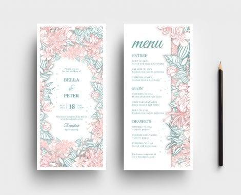 Modern Floral Wedding DL Card Template