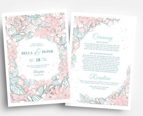 Modern Floral Wedding Invitation