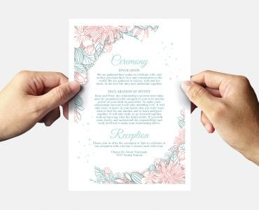 Floral Wedding Invitation Template Back