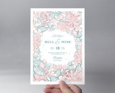 Floral Wedding Invitation Template Front