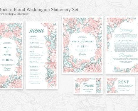 Modern Floral Wedding Stationery Templates