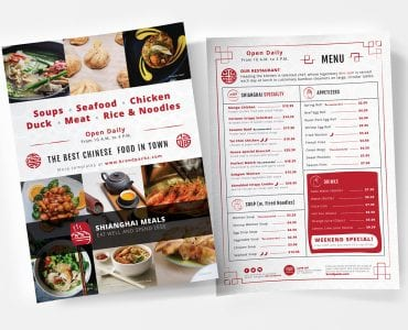 A4 Chinese Restaurant Menu Templates