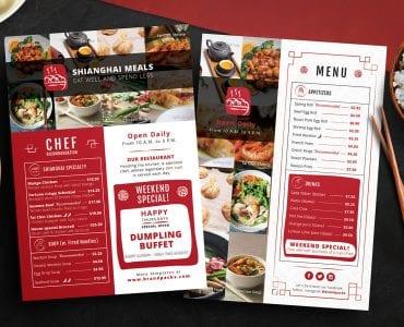 Chinese Restaurant Menu Flyer Templates