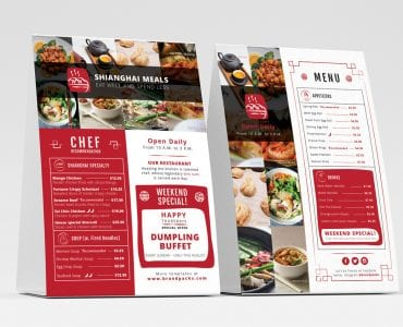 Chinese Restaurant Table Tent Template