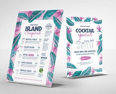 Cocktail Bar Table Tent Templates