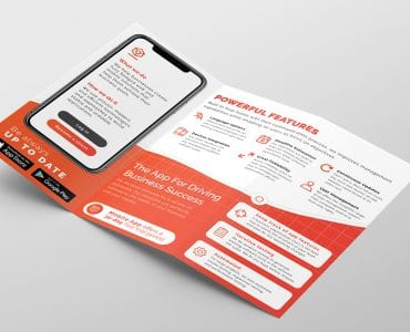 Mobile App Tri-Fold Brochure Template (inside)