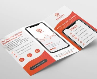 Mobile App Tri-Fold Brochure Template (outside)