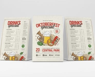 Oktoberfest Menu Table Tent Templates
