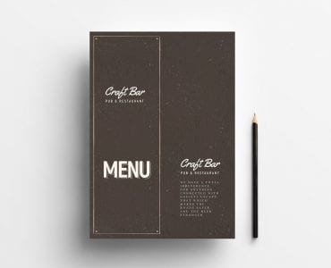 Pub Menu Template Cover