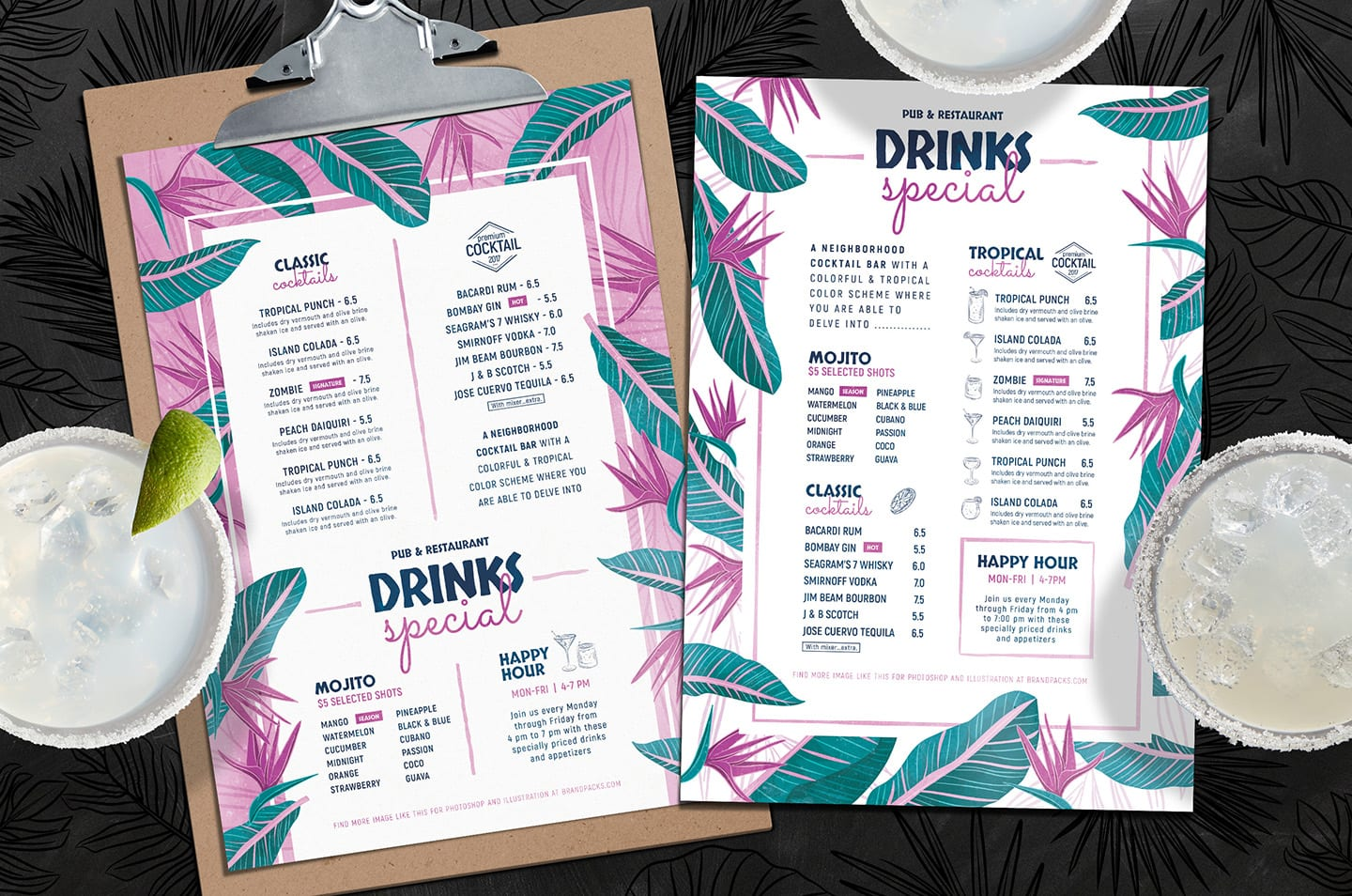 Tropical Cocktail Menu Templates in PSD & Vector