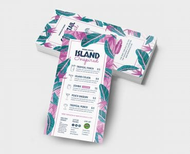 Tropical DL Menu Template (Back)
