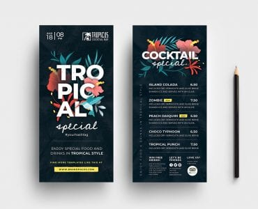 Tropical DL Rack Card Template