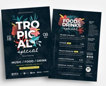Tropical Flyer Templates in PSD & Vector
