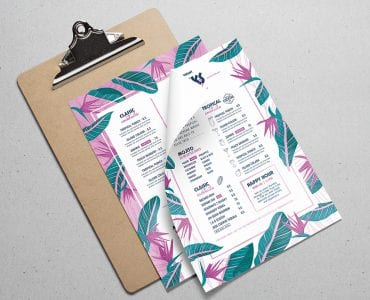 Tropical Menu Template PSD/Vector