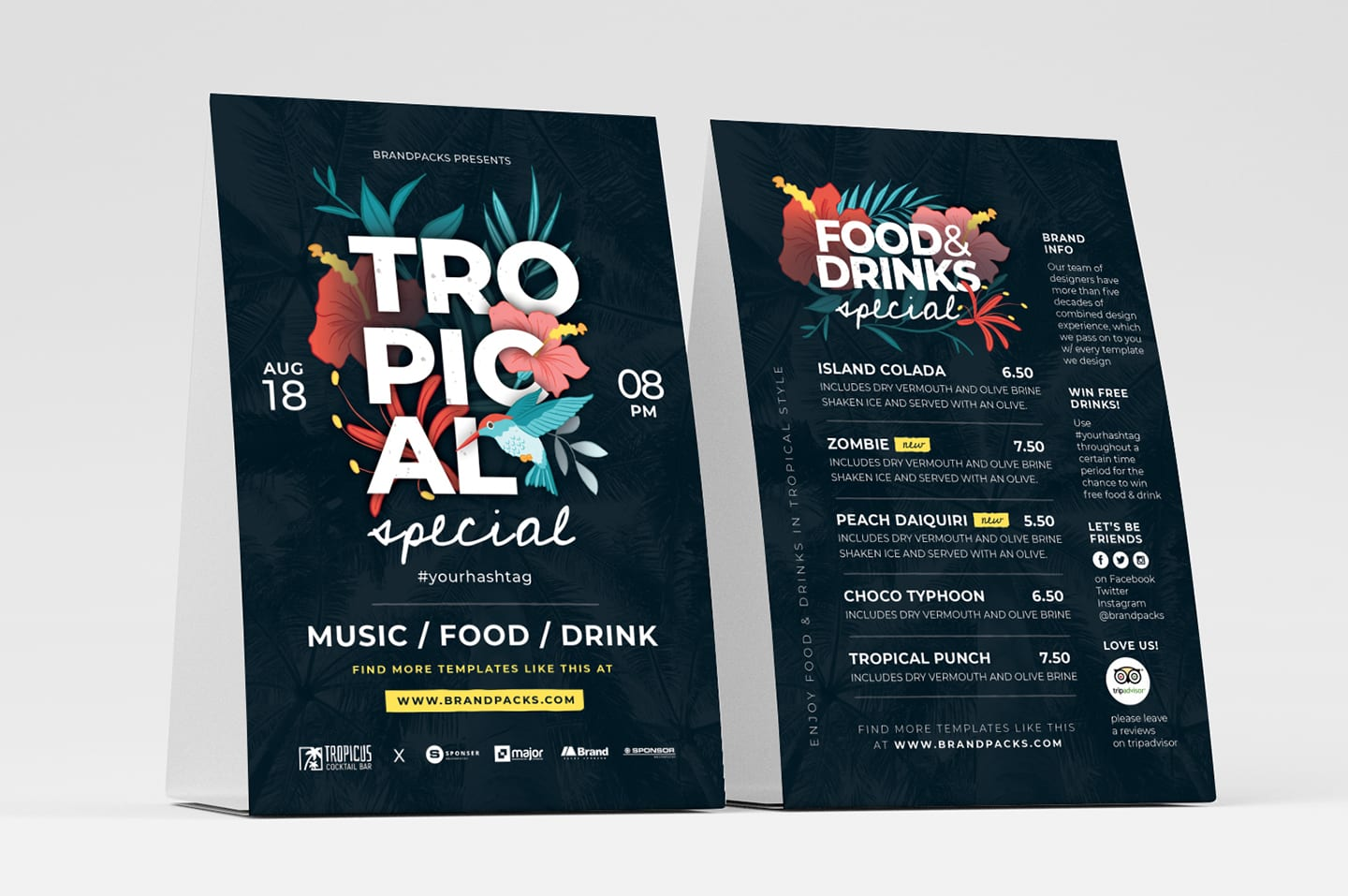 Tropical Table Tent Templates