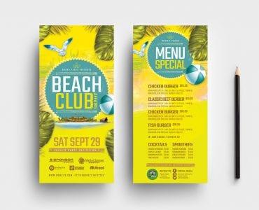 Beach Club DL Card Templates