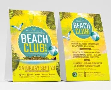 Beach Club Table Tent Templates