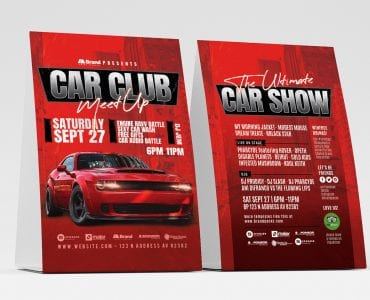 Car Club Table Tent Templates