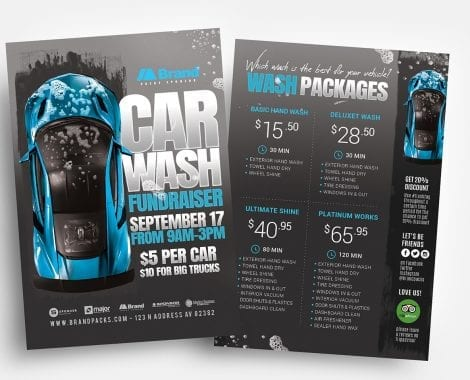 Car Wash Fundraiser Flyer Templates